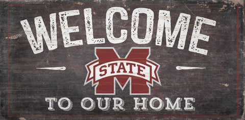 Mississippi State Bulldogs Sign Wood 6x12 Welcome To Our Home Design - Special Order