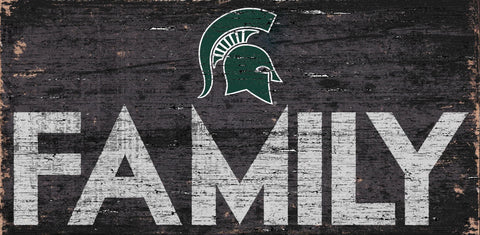 Michigan State Spartans Sign Wood 12x6 Family Design - Special Order