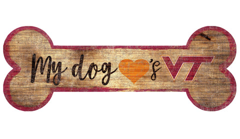 Virginia Tech Hokies Sign Wood 6x12 Dog Bone Shape