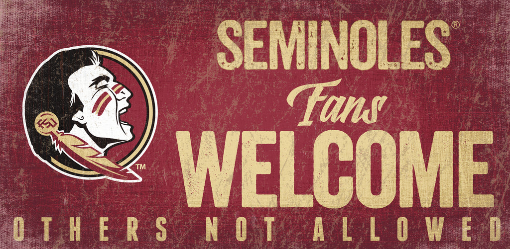 Florida State Seminoles Wood Sign Fans Welcome 12x6