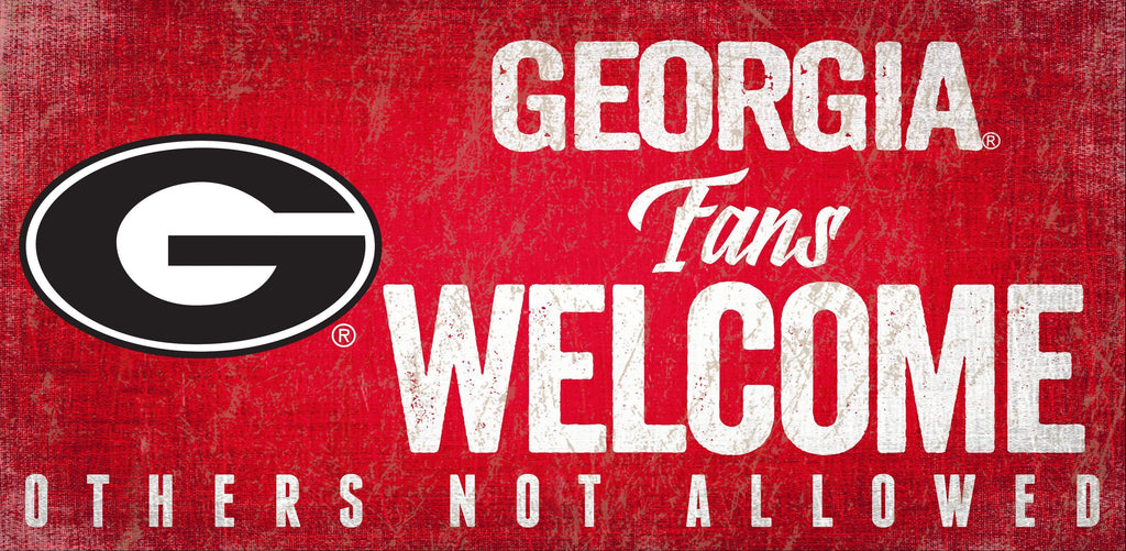 Georgia Bulldogs Wood Sign Fans Welcome 12x6