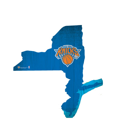New York Knicks Sign Wood 12 Inch Team Color State Shape Design