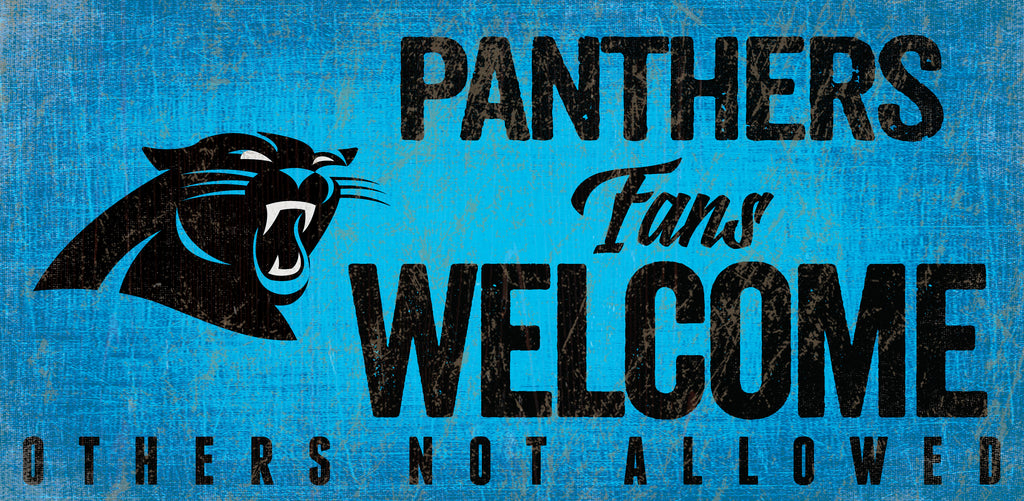 Carolina Panthers Wood Sign Fans Welcome 12x6