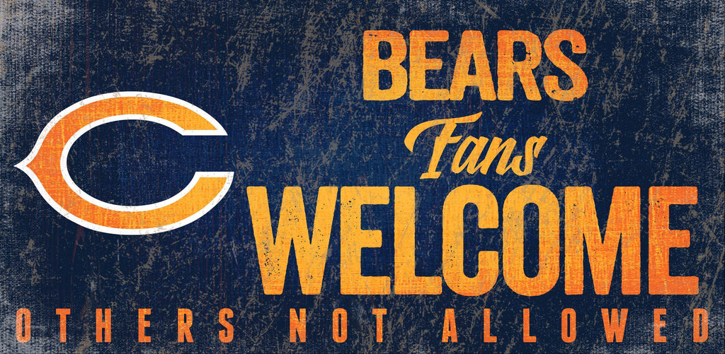 Chicago Bears Wood Sign Fans Welcome 12x6