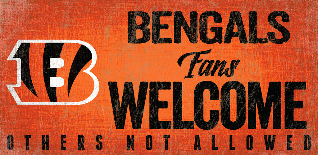 Cincinnati Bengals Wood Sign Fans Welcome 12x6