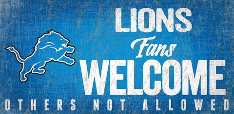 Detroit Lions Wood Sign Fans Welcome 12x6