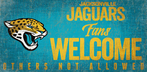 Jacksonville Jaguars Wood Sign Fans Welcome 12x6 - Special Order