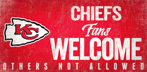 Kansas City Chiefs Wood Sign Fans Welcome 12x6