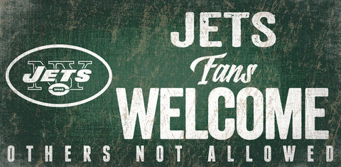 New York Jets Wood Sign Fans Welcome 12x6 - Special Order