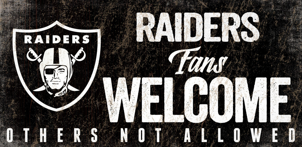 Las Vegas Raiders Wood Sign Fans Welcome 12x6