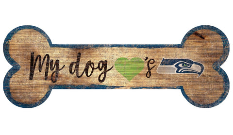 Seattle Seahawks Sign Wood 6x12 Dog Bone Shape