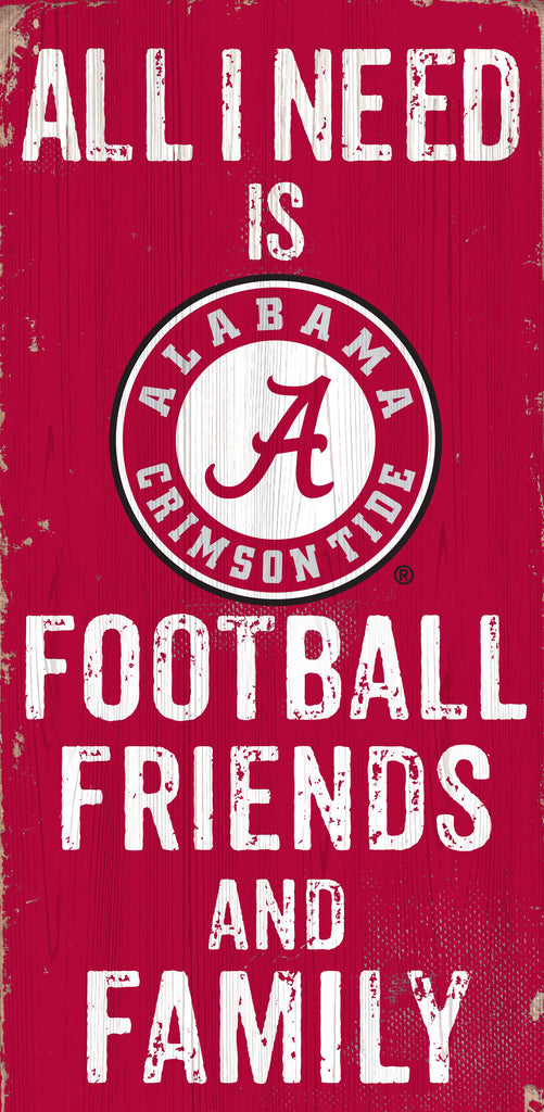 Alabama Crimson Tide Sign Wood 6x12 Football Friends and Family Design Color - Special Order