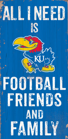 Kansas Jayhawks Sign Wood 6x12 Football Friends and Family Design Color - Special Order