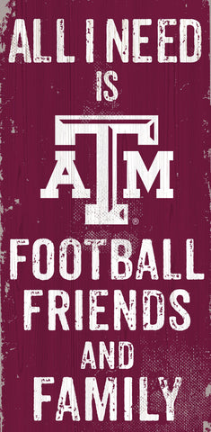 Texas A&M Aggies Sign Wood 6x12 Football Friends and Family Design Color - Special Order