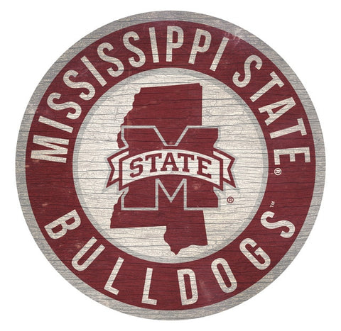 Mississippi State Bulldogs Sign Wood 12 Inch Round State Design - Special Order