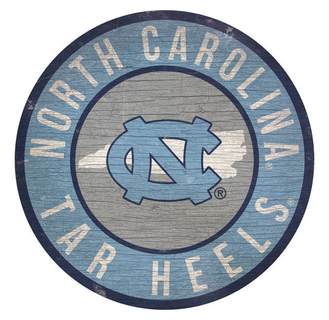 North Carolina Tar Heels Sign Wood 12 Inch Round State Design - Special Order