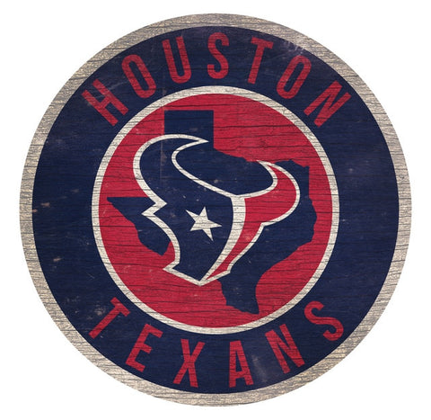 Houston Texans Sign Wood 12 Inch Round State Design