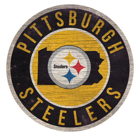 Pittsburgh Steelers Sign Wood 12 Inch Round State Design