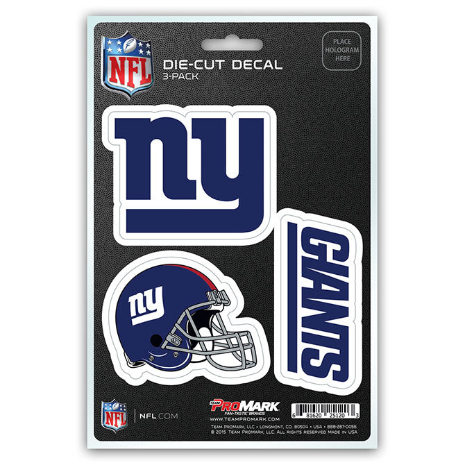 New York Giants Decal Die Cut Team 3 Pack