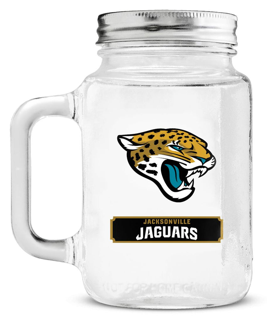 Jacksonville Jaguars Mason Jar Glass With Lid