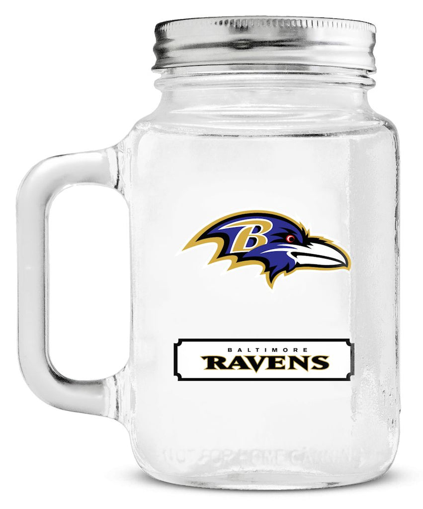 Baltimore Ravens Mason Jar Glass With Lid