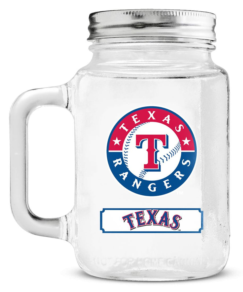 Texas Rangers Mason Jar Glass With Lid