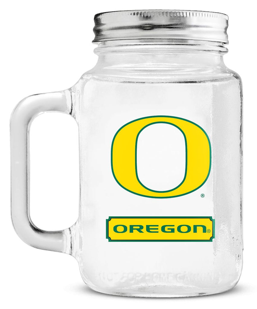 Oregon Ducks Mason Jar Glass With Lid
