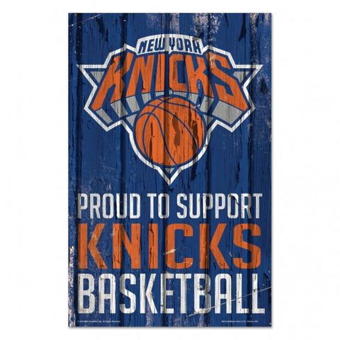 New York Knicks Sign 11x17 Wood Proud to Support Design - Special Order