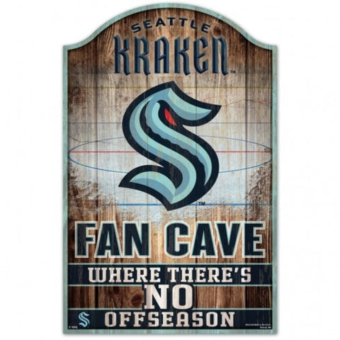 Seattle Kraken Sign 11x17 Wood Fan Cave Design