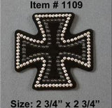 Rhinestone Helmet Patch - Iron Cross