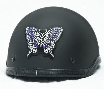 Rhinestone Helmet Patch - Purple Butterfly