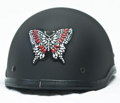 Rhinestone Helmet Patch - Red Butterfly