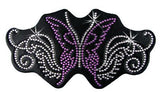 Rhinestone Helmet Patch - Purple Sparkly Butterfly