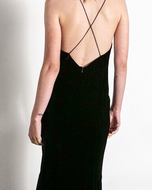 Crossback Sexy Slit Low V Dress