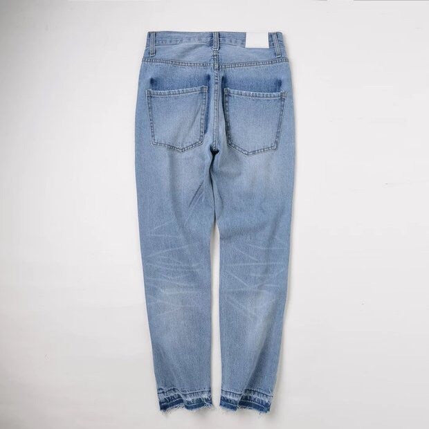 Two Tone Light Wash High Waisted Denim