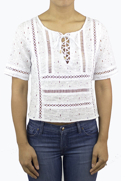 White Eyelet Top - HartLove 718 - 1