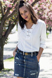 White Lace Up Front Top