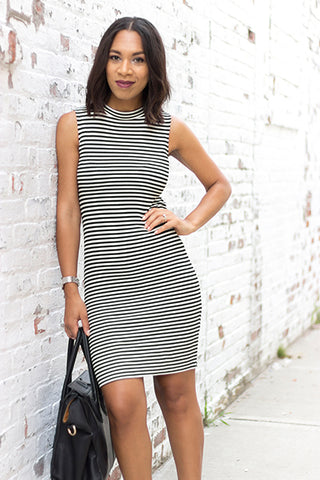 Black and White Stripe Midi Dress