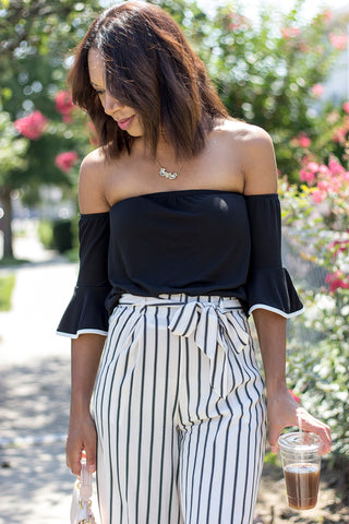 Off The Shoulder Trumpet Sleeve Top
