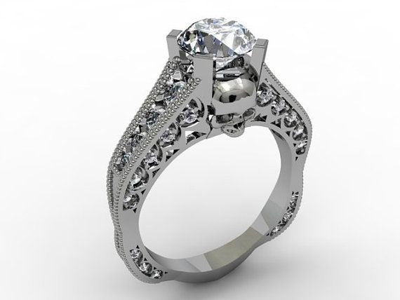 Skull Engagement Ring in Platinum with Genuine G.I.A Center Diamond V V S 1 - Temple of The Ancient Dragon TM - 1