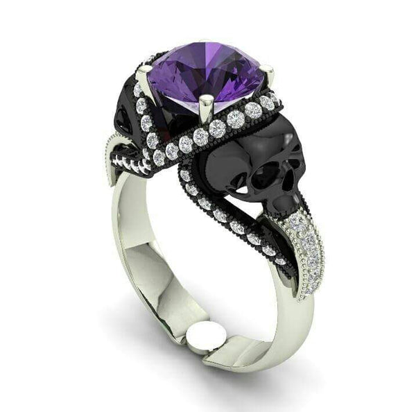 Amethyst Skull Engagement Ring 10 k Genuine Center and Accents - Temple of The Ancient Dragon