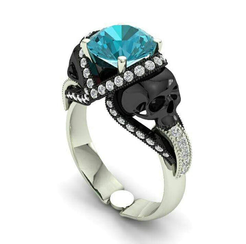 Aquamarine Skull Engagement Ring - Temple of The Ancient Dragon