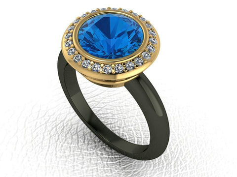 3 Carat Created Blue Sapphire Engagement Ring - Temple of The Ancient Dragon