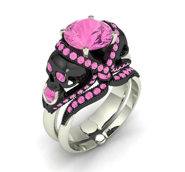 Pink Sapphire Cotton Candy Skull Ring 10 k - Temple of The Ancient Dragon