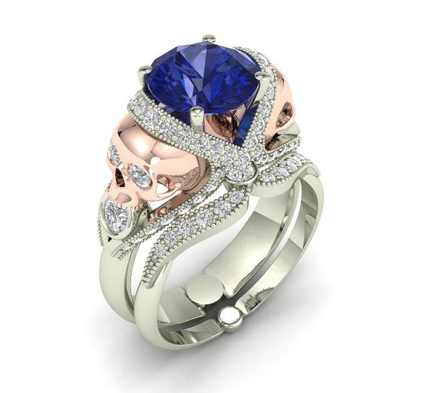 Blue Sapphire and Rose Gold Engagement Ring 14 k - Temple of The Ancient Dragon