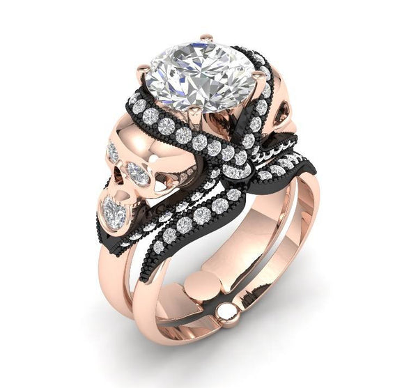 Skull Engagement Ring Rose Gold 14 k - Temple of The Ancient Dragon