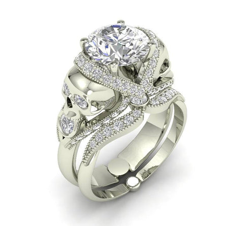 18 k Skull Engagement Ring with White Moissanite Center - Temple of The Ancient Dragon