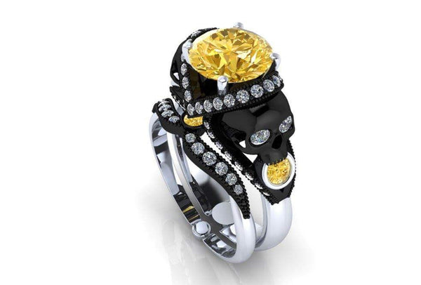 Canary Diamond Skull Engagement Ring 18 k GIA VVS 2 - Temple of The Ancient Dragon
