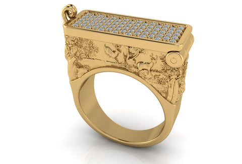 Art Deco Poison Ring in 14 kt Solid Gold and Micro Pave Diamonds - Temple of The Ancient Dragon