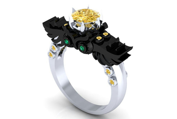 Incredible Gothic Owl Ring Steam Punk - Temple of The Ancient Dragon
